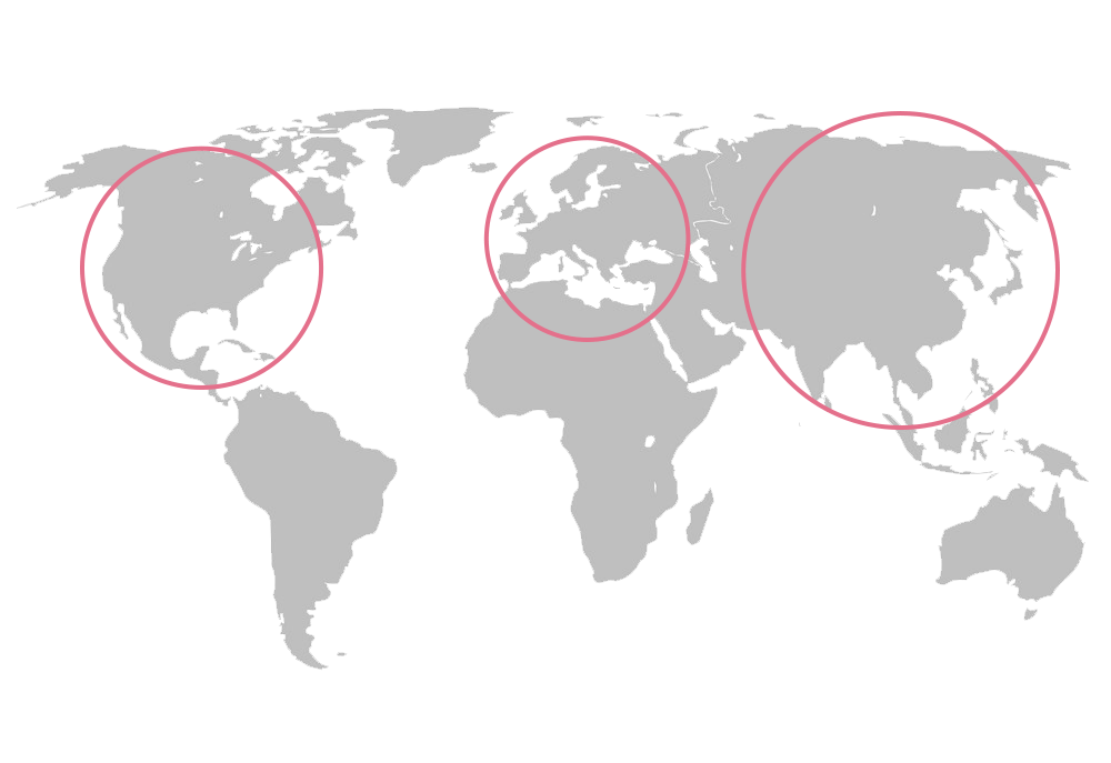 a map of the world with circles around North America, Europe and Asia. Worldwide corporate mindfulness training